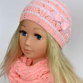 Шапка шапочка ажурная для девочки р48-52 от 2-4 лет и 53-57 от 4лет и старше