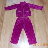 Фирменный велюровый спортивный костюм для девочки 12-18 месяцев, 86 см