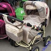 Новая Детская коляска-трансформер Viki «Plus» V1 Светлый беж