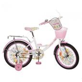 Детский велосипед двухколесный с корзинкой Kitty 18 дюймов