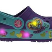 Crocs Neon Purple CrocsLights butterfly clog мигающие кроксы разные