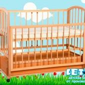 Кроватка детская Малютка маятник+закрытый ящик(опуск.бортик) бесплатная доставка