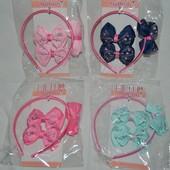 Шикарный набор аксессуаров обруч и заколки уточки для нарядной нежной девочки разные расцветки