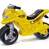 Мотоцикл беговел пластиковый велобег толкатель желтый Орион 501