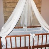 Детская кровать с защитой, бортиками и балдахином