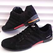 Кроссовки весна № 29 Adidas чёрный замш