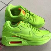 Кроссовки Nike Air Max салатовые кожа. -41