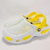 115540 Женские кроксы белые с жёлтым.36-37,38-39,40-41.