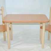 Качественный детский стол со стульями из натурального материала