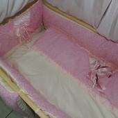 """Постельное белье для детской кроватки """"Bonna Lux"""" Розовый"""