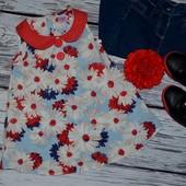 1 - 2 года 92 см Обалденная фирменная туника блуза маечка для стильной и модной принцессы