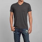 Хлопковая эластичная футболка с V образным воротником