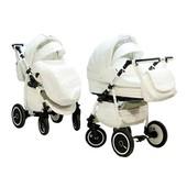 Универсальная коляска 2 в 1 Adamex Enduro 10S, белый (кожа 100%)