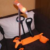 Качественный самокат с сидением 3в1 с наклоном руля  SKL-06-100B оранжевый