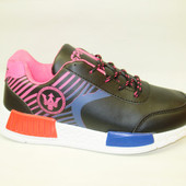 Кроссовки черные с розовым Т710