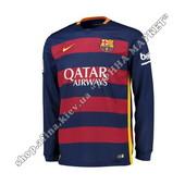 Футбольная футболка Барселоны с длинным рукавом 2015-2016 Nike домашняя (1804)