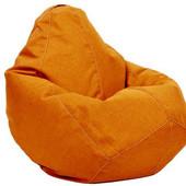 Оранжевое кресло-груша 100х75 см из микро-рогожки, апельсиновый цвет