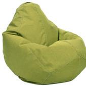 Салатовое кресло-груша 100х75 см из микророгожки