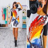 Женское платье Трапецией два вида рисунка. Размер: см {