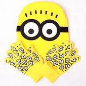 В наявності копмплект шапочка і рукавички Міньйони Посіпаки набір жовтий демісезонний