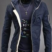 Стильная мужская куртка-ветровка. Размеры: L , ХL.синяя (2з