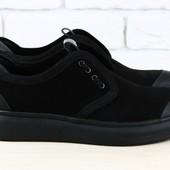 Туфли спортивные Arro, р. 40-45, синий, черный, натур. замша, код nvk-1972