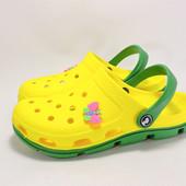 116104Пляжные кроксы. Желтые с зеленым. 36~41р.