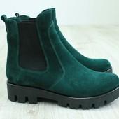 Ботинки на резинке зеленые , р. ,36,37,38,39, натур. замша, код 1754ks