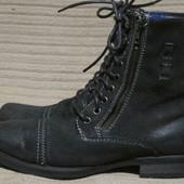 Мощные кожаные ботинки Transit mens black lace up military boots UK 8