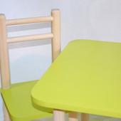 Яркий зеленый детский стол 40*60, высота 40 см и 1 стул