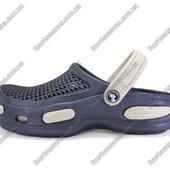 Мужские кроксы. Синие с бежевым. 26 см