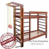 Деревянная двухъярусная кровать + спортивный уголок даром!
