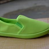 Женские мокасины слипоны яркие салатовые зеленые
