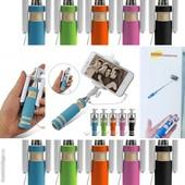 Монопод для селфи (селфи палка), с кнопкой на ручке, цвет случайный