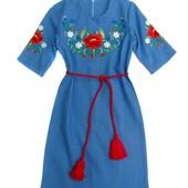 Детское платье вышиванка Лён
