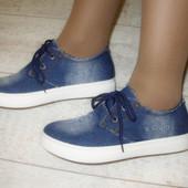 Туфли джинсовые тшнурок Т510 р.38,40