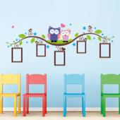 Наклейка на стену для детской «Совушки с Вашими фото»