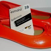 (39,40) Немецкие балетки Esmara красный коралл