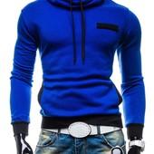 Тёплая мужская толстовка с латками,S, M, L, ХL.синяя и черная (2з