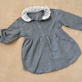 рубашка с кружевным воротничком р.80