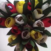 Цветы, искусственные, конфетные цветы из гофрированной бумаги, рукоделие