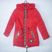 Модная демисезонная куртка - парка для девочки, р. 122-152, код - Шанель (ягода)