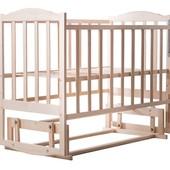 Детская кроватка Зайчёнок (опуск.бортик, дуги/колёса или маятник)ЭКО без лака