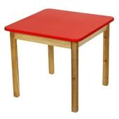 Детский Стол деревянный красный c квадратной столешницой. F13