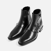 Ботинки кожаные с тремя пряжками.Мужчины.Zara.Испания.