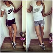 Костюм для фитнеса. Футболка и шорты Nike. Копия известного бренда. 2 цвета!