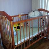 Кроватка Drewex +матрас +комплект с защитой (постельное)+2комплекта постельного