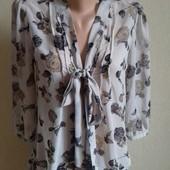 Шифоновая блуза пиринт цветы