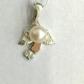 Новая серебряная подвеска ангелочек с культ.жемчугом Серебро 925 пробы