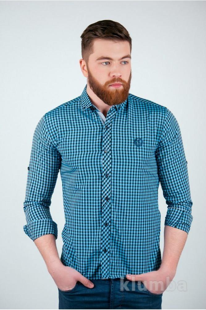 Рубашка №94f036 сине-серый,гобувато-серый,красно-белый фото №1